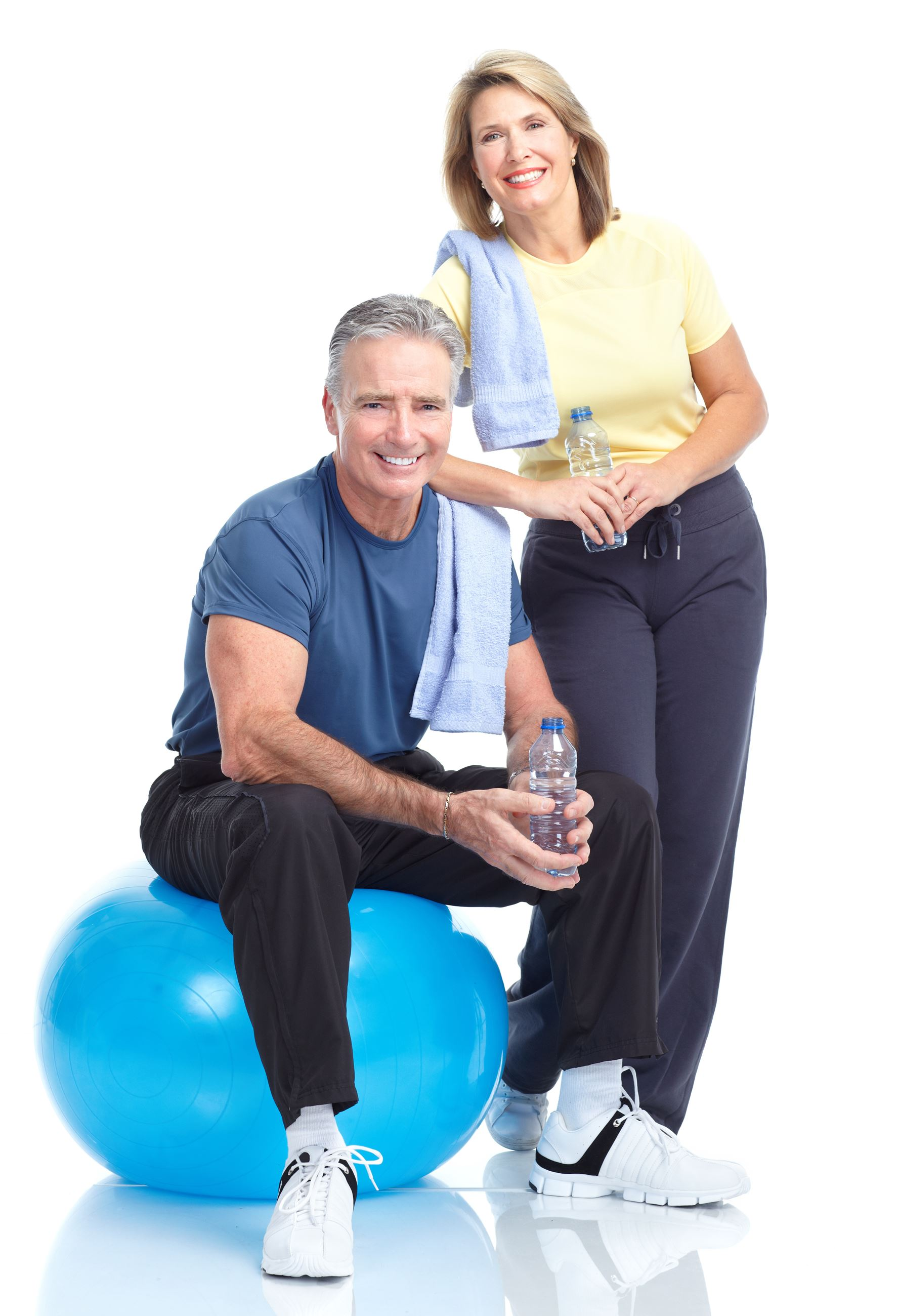 Older man and women with physical activity equipment