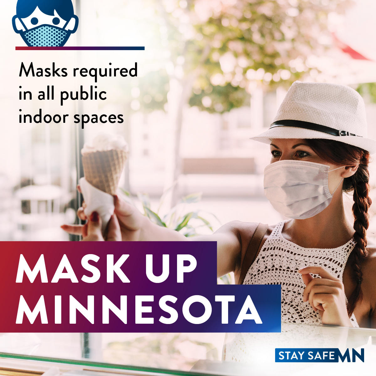woman with mask on, words on screen masks required when indoors