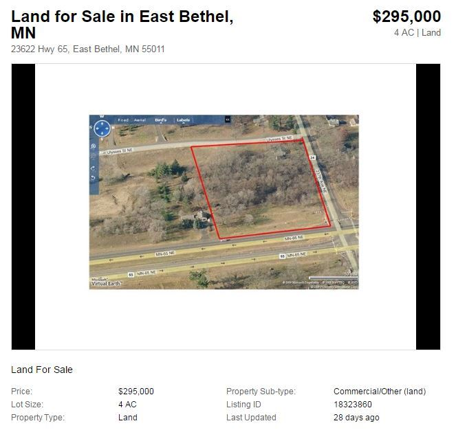 Land for sale in East Bethel